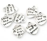 "10 x Antique Silver ""Love and beloved"" Heart Message Charm Pendants"